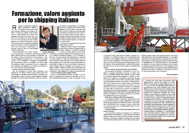 AGOSTO 2019 PAG. 18 - Formazione, valore aggiunto per lo shipping italiano
