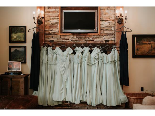 Robes de demoiselle d'honneur vertes longues en mousseline