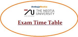 Neotia University Exam Date Sheet 2020