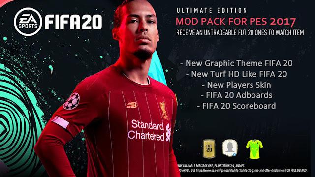 مود تحويل بيس 2017 الي فيفا 20 - FIFA 20 Mod Pack For PES 2017