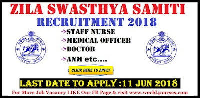 Zila Swasthya Samiti, Rayagada Staff Nurse Recruitment 2018
