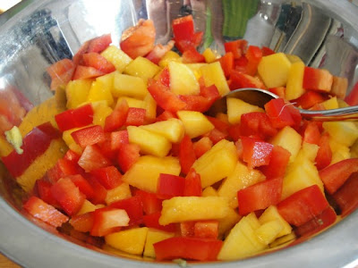 diced peach and red pepper