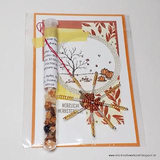 Herbstliche Karte mit Tee im Reagenzglas und Perlen-Schneeflocken als Schenklis Stampin' Up! www.eris-kreativwerkstatt.blogspot.de