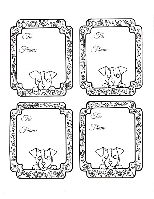 christmas is coming and you can label all your gifts with these doggie coloring gift tags