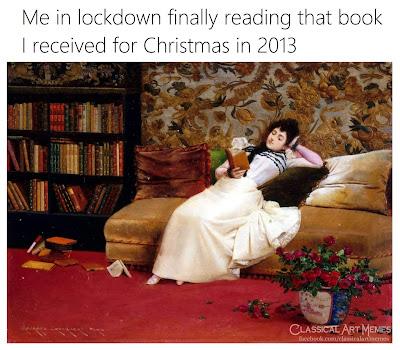 classical art memes  corona19 book reading