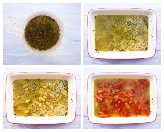 Making tofu rice bake - step 2 - Rice & stock in roasting dish