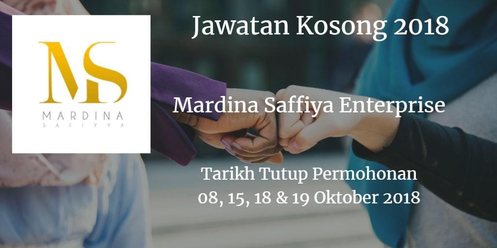 Jawatan Kosong Mardina Saffiya Enterprise 08, 15 , 18 & 19 Oktober 2018