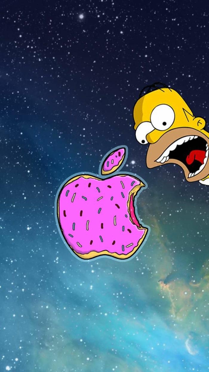 Wallpaper, sfondi iPhone, ciambella, The Simpson