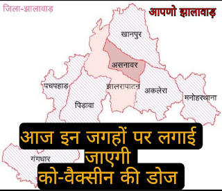 Jhalawar Pocket News Jhalawar corona news ek click me-- जानिए आज झालावाड़ में कहाँ-कहाँ होगा Covid vaccination
