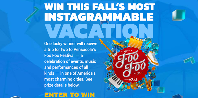 Delta Sky wants you to enter this sweepstakes for a chance to win a vacation giveaway trip to the Foo Foo Festival in sunny Pensacola, Florida! Foo Foo Fest is a celebration held every fall, with culturally creative happenings, events and moments under one banner. Foo Foo Fest is big fun, with events of high artistic and cultural caliber, delivered with a hefty dose of Southern sophistication.