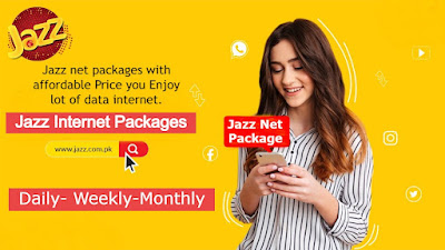 Jazz internet Packages Daily, 3 Days, Weekly, Monthly