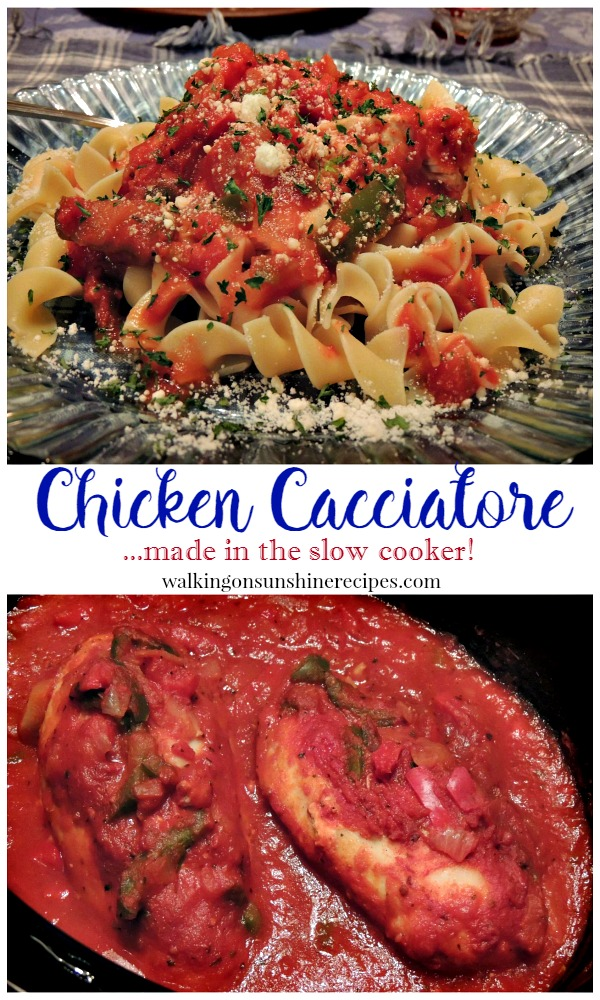 Chicken Cacciatore recipe that cooks in your slow cooker.  An easy and delicious recipe that's for dinner tonight in our house from Walking on Sunshine!