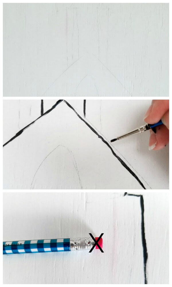 use pencil to draw outline then paint