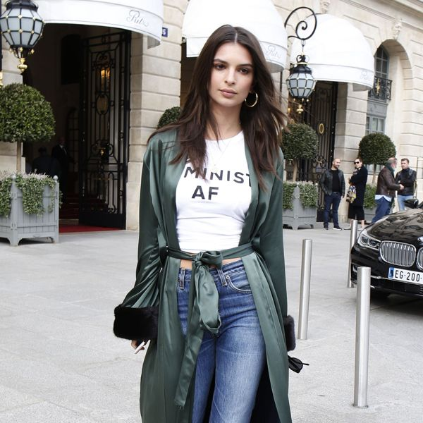 Emily Ratajkowski is feminist as fuck in her Feminist AF T-shirt.  PYGOD.COM
