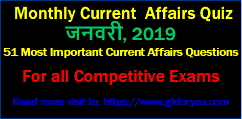 January 2019 Monthly Current Affairs for Competitive Exam