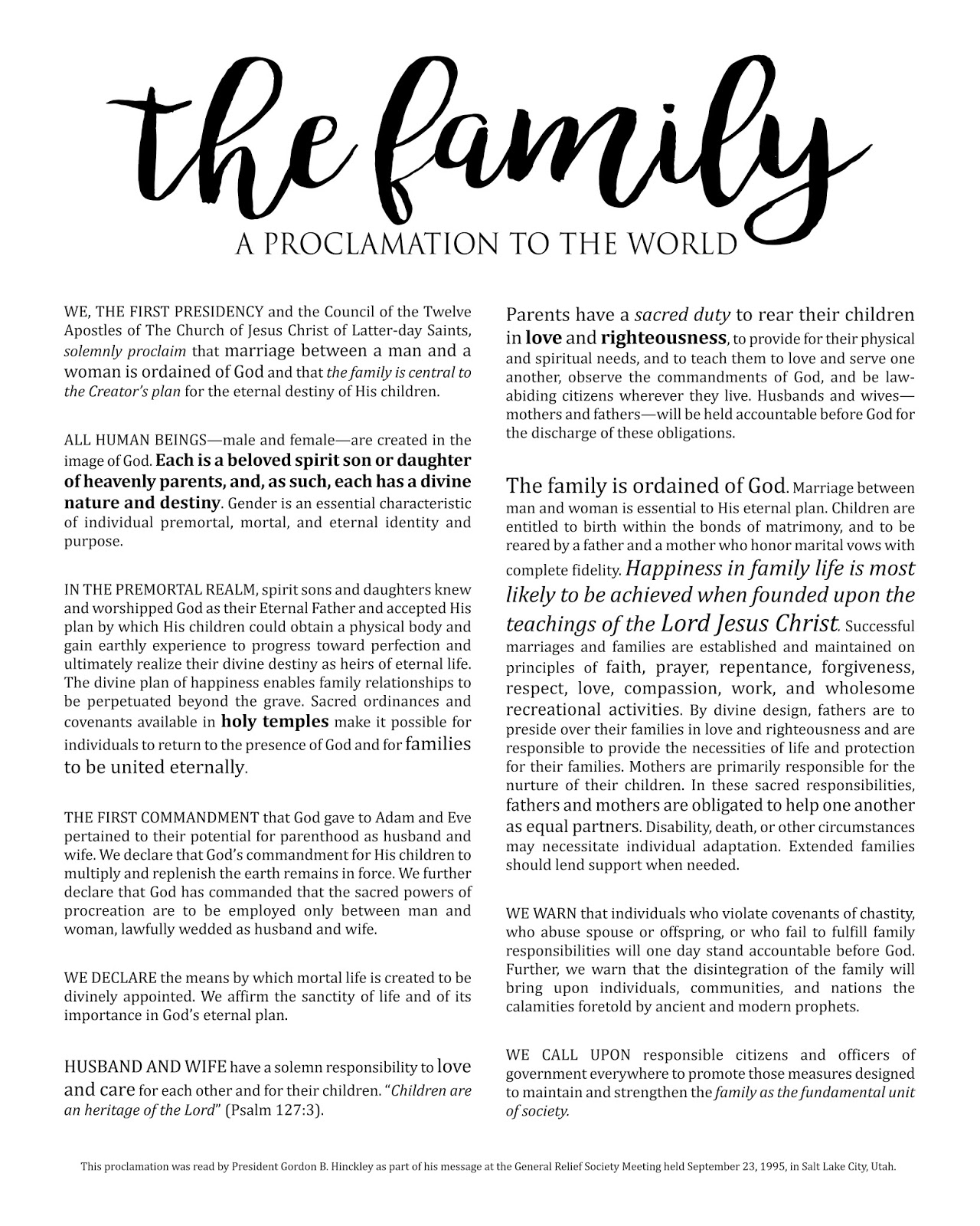 The Family Proclamation Pdf : family, proclamation, Family, Proclamation, World, FamilyScopes