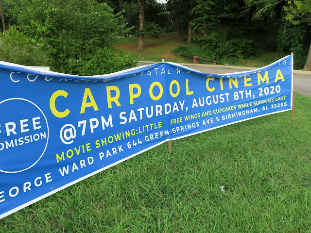 Drive-in movie at George Ward Park, Birmingham, Alabama. August 2020.