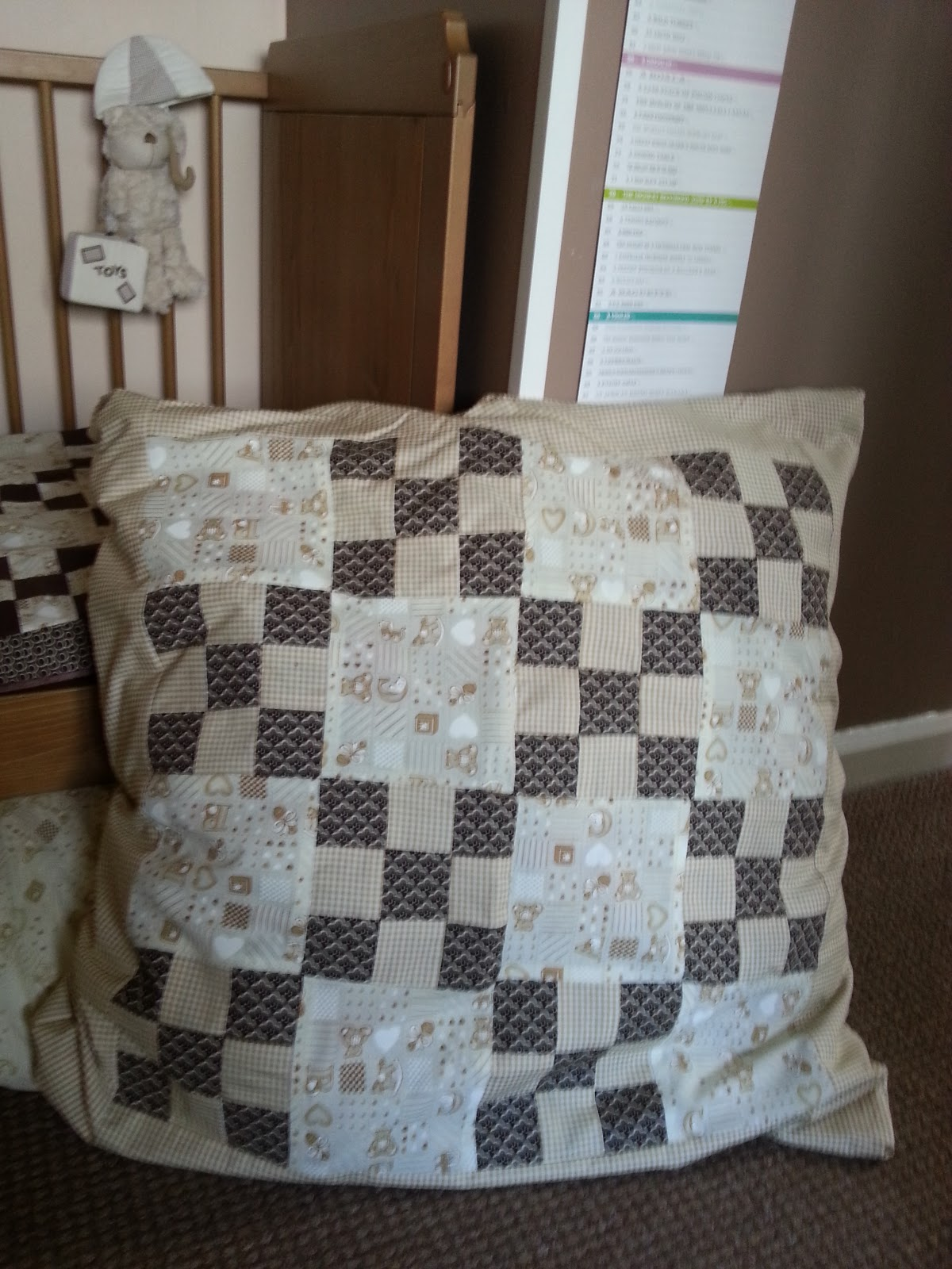 Floor Pillows Sewing Pattern : Sticking & Stitching: Patchwork Floor Cushion Sewing Pattern