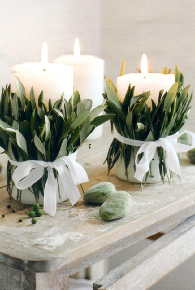 Velas decoradas a mano con ramas vegetales de estilo provenzal, perfectas para boda