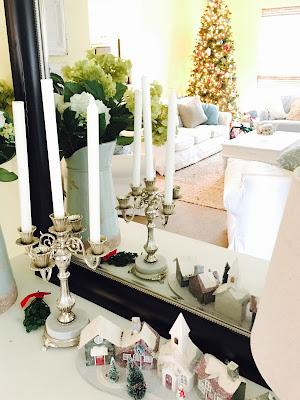 Christmas decorations through mirror