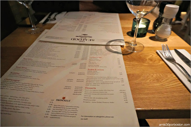 Carta de The Seafood Bar en Amsterdam