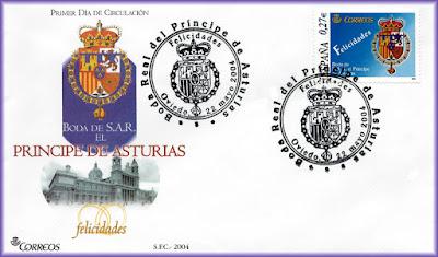 sello, sobre, matasellos, filatelia, Oviedo, boda, Príncipes, Asturias