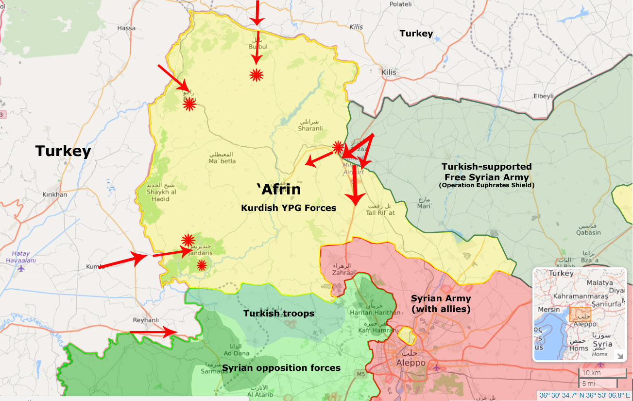 they have virtual control of the airspace over afrin canton overwhelming firepower that state armed forces can provide and almost complete encirclement