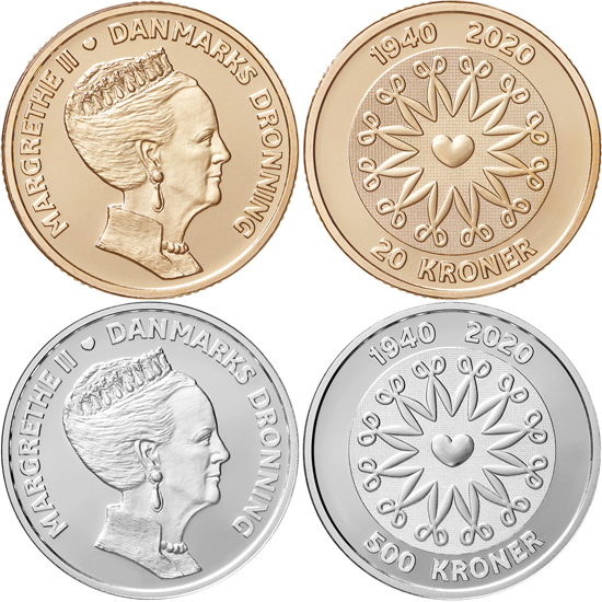 Denmark 20 and 500 krone 2020 - 80th birthday of Queen Margrethe II
