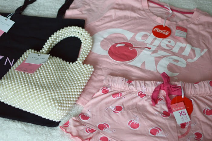 Skinny Dip Beaded Bag & Primark Cherry Coke Pjs