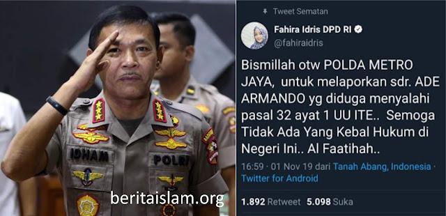 Fahira Idris Polisikan Ade Armando, Ujian Pertama Untuk Kapolri Baru Komjen Idham Aziz