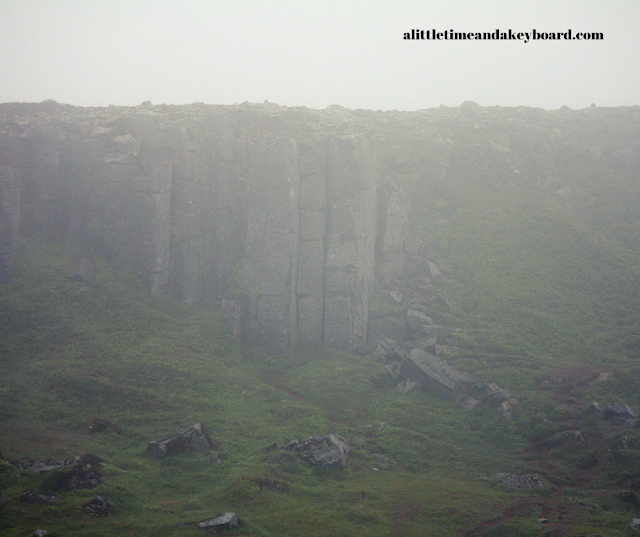 Gerᵭuberg Basalt Columns emerging from the fog.