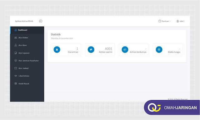 Tampilan Halaman Dashboard Admin Review Aplikasi Antrian Berbasis Web Dengan PHP, MySQL dan Codeigniter