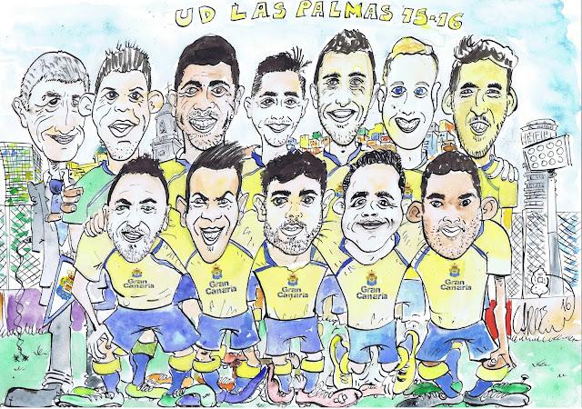 Caricatura jugadores Ud Las Palmas