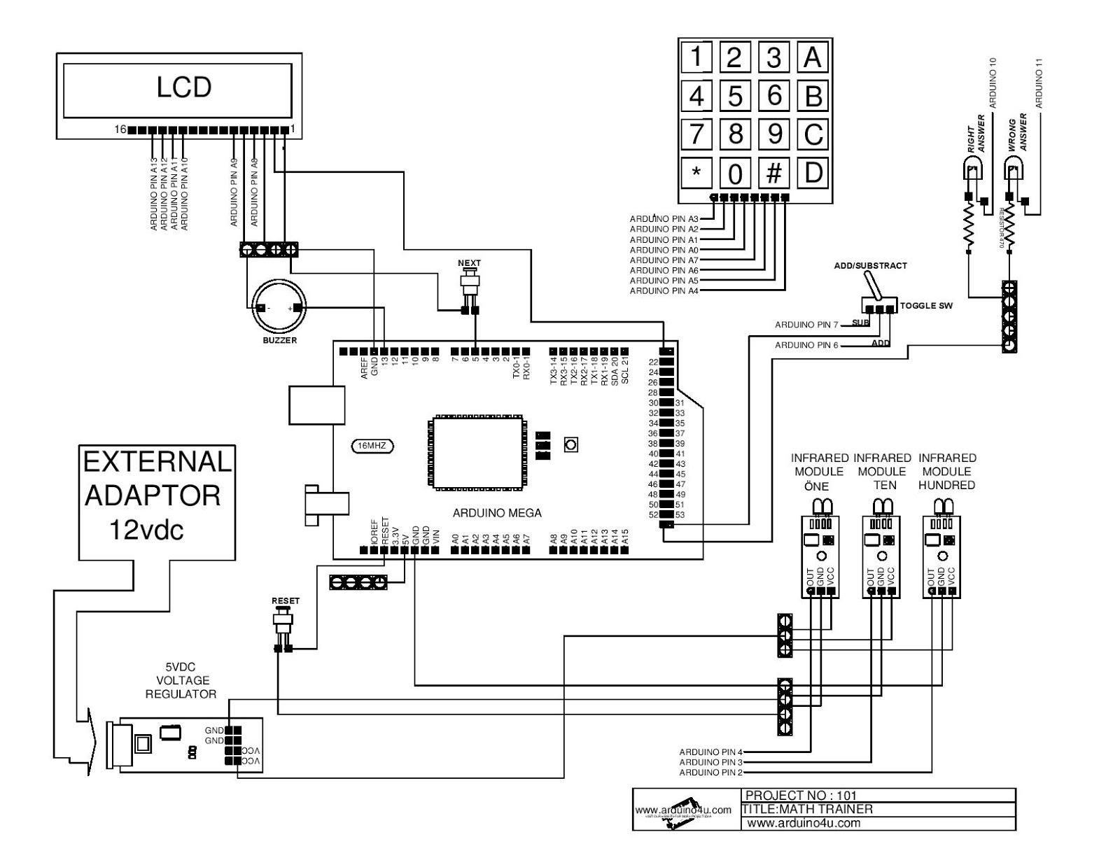 Projek Elektronik Arduino4u 101 Math Trainer