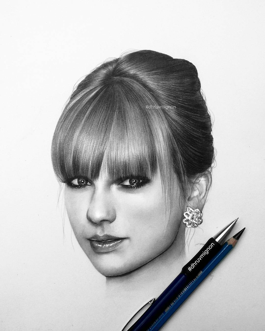 01-Taylor-Swift-dhruvmignon-Celebrity-Miniature-Black-and-White-Pencil-Portraits-www-designstack-co