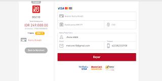 masukan kartu kredit untuk pembayaran