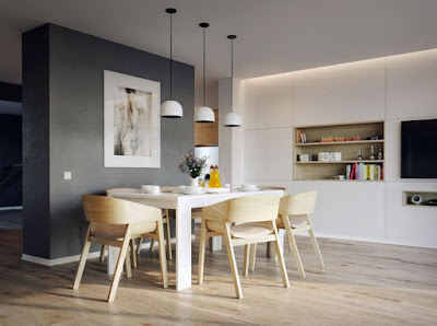 Scandinavian style dining room ideas with comfortable dining set and lovely decor