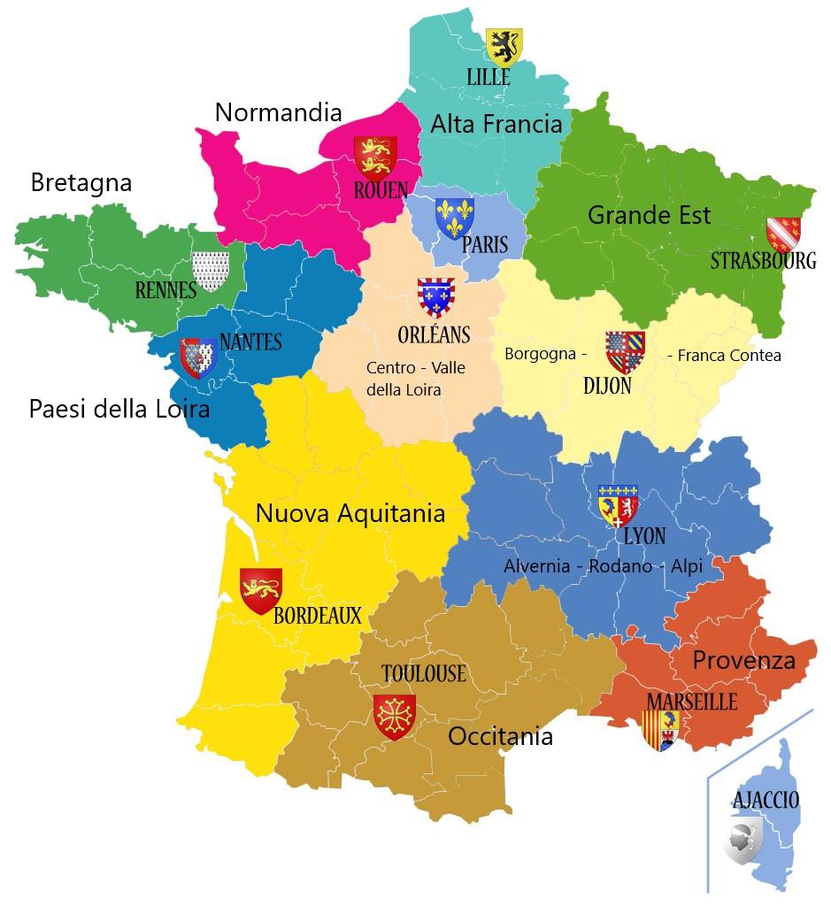Francia Regioni Cartina.L Ultima Thule Mappa Delle Regioni Della Francia E Delle