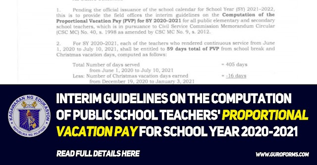 INTERIM GUIDELINES ON THE COMPUTATION OF PUBLIC SCHOOL TEACHERS' PROPORTIONAL VACATION PAY FOR SCHOOL YEAR 2020-2021