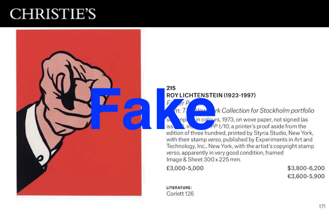 Fake Finger Pointing, numbered 1/10 from non-existent edition,  Lot 215, Withdrawn Christie's, 3/29/17