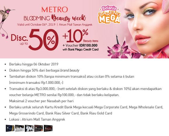 #BankMega - #Promo Diskon Hingga 50% Skincare & Makeup di METRO (s.d 06 Okt 2019)