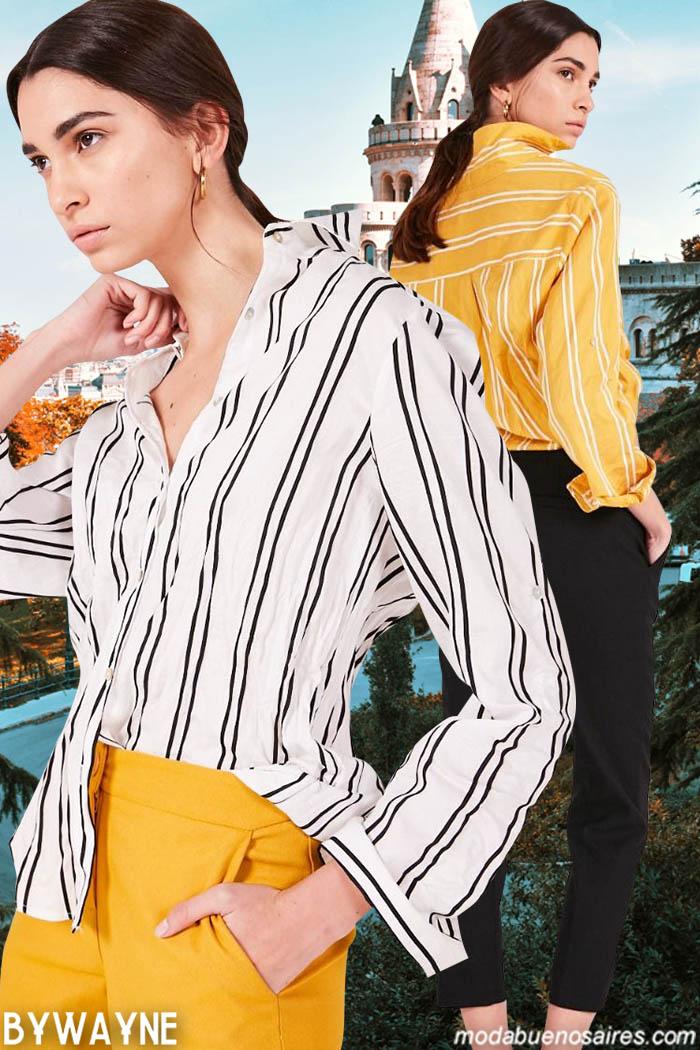 Camisas rayadas y pantalones de vestir primavera verano 2020. Moda verano 2020 camisas de mujer y pantalones de vestir. Moda 2020.