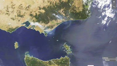 Victorian Fires - smoke viewed from space.