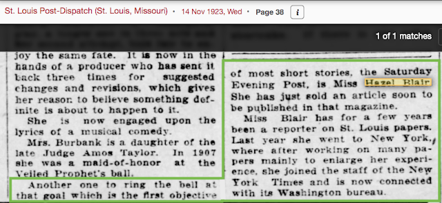news writer Hazel Blair 1923 St. Louis Post-Dispatch article