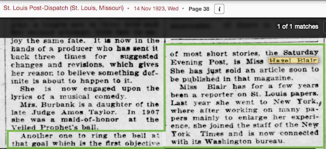 news writer Hazel Blair 1923 St. Louis Post-Dispatch article