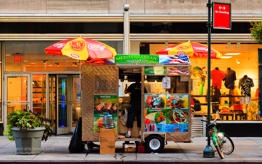 a photo of a new york street vendor food cart