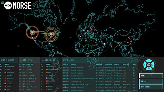 Ataki DDos - Mapa NORSE