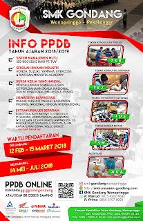 Pamflet PPDB SMK Gondang 2018/2019
