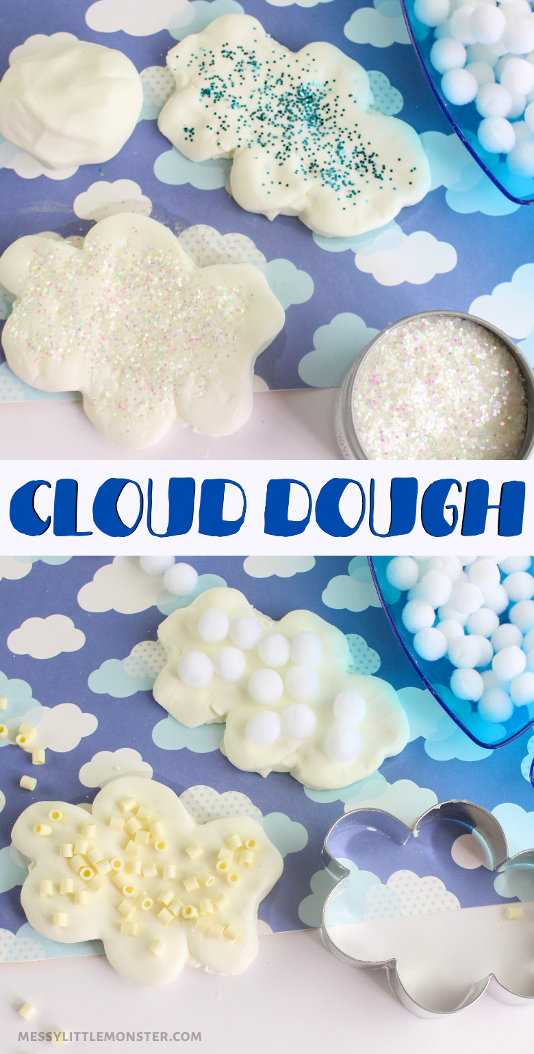 How to make cloud dough. Follow our easy cloud dough recipe and use it for a fun sensory cloud activity for kids.
