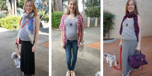 wearing a non maternity striped tank in pregnancy 3 outfits | awayfromtheblue